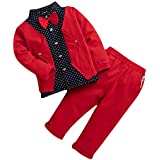 Hopscotch Boys Polycotton Applique Bow Formal Shirt And Pant Set in Red Color