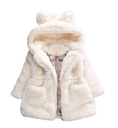 (Baby Little Girls Winter Fleece Coat Kids Faux Fur Jacket with Hood Thicken Outwear Warm Overcoat Beige)