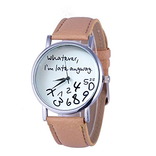 Womens Quartz Watches with Words,POTO Unique Analog Fashion Clearance Lady Watches Female Watches on Sale Casual Wrist Watches for Women,Alloy Round Dial Case Comfortable PU Leather Watch (Beige)