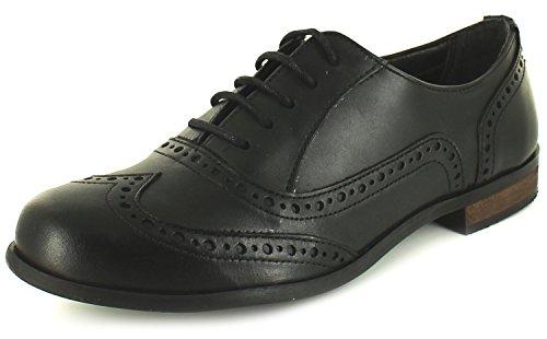 Zapatos mujer negros piel cordones cuero calado, tacón bajo bloque - Color negro - Tallas RU 3-9