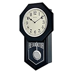 Bulova School Master Wall Clock, 18, Black