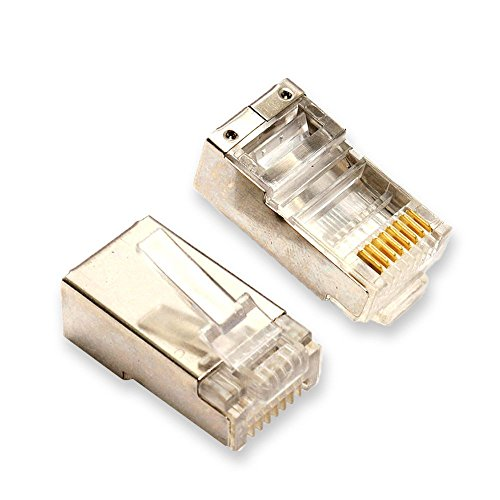 - Conwork Shieled RJ45 Crimp Connectors, Ethernet Network Aluminium Shield Crimp Ends UTP 8P8C Plug for CAT5 CAT5E CAT6 CAT7 Stranded Cable (100-Pack)
