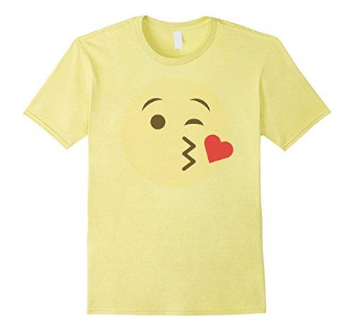 Mens KISSING FACE EMOJI T SHIRT GROUP COUPLE COSTUME T SHIRT Large (Kiss Couples Halloween Costumes)