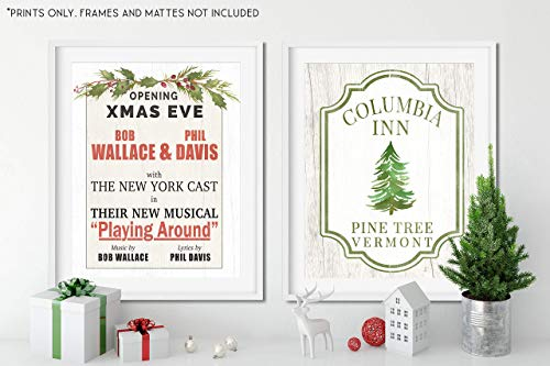 White Christmas Movie Set - SET of 2 - Holiday Decor - Unframed 11x14 Art Prints