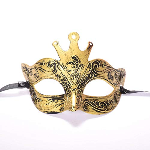 LBAFS Halloween Mask Ancient Roman Male Antique Crown Half Face Carved Bronze Mask for Masquerade Party]()