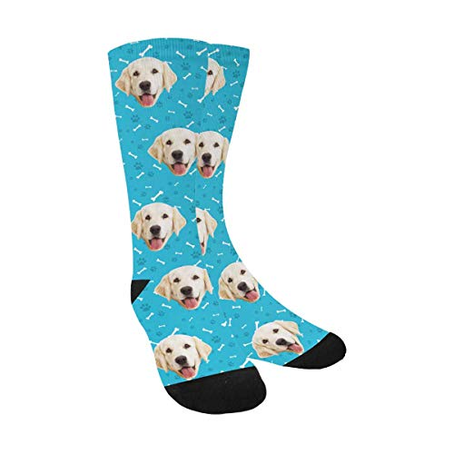 Print Dog Custom - Custom Print Your Photo Pet Face Socks, Personalized Bones Cat Dog Tracks Paws Blue Crew Socks for Men Women