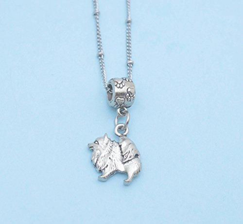 Pomeranian Necklace - Pomeranian in silver pewter on a 20