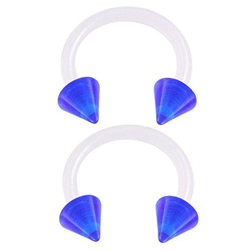 bodyjewellery 2pcs 16g 5/16 Horseshoe Earrings Bioflex Flexible Septum Cartilage Hoop Lip Tragus Eyebrow Helix Acrylic Spike - Dark Blue Blue Acrylic Spike