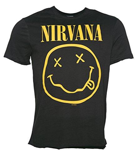 Herren Holzkohle Nirvana Smiley T Shirt aus verstrkt