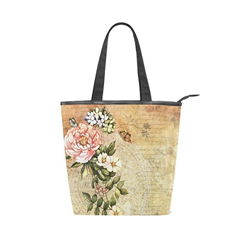 Shoulder Retro Floral Bag Tote Watercolor MyDaily Handbag Canvas Womens Flower qnIEw4