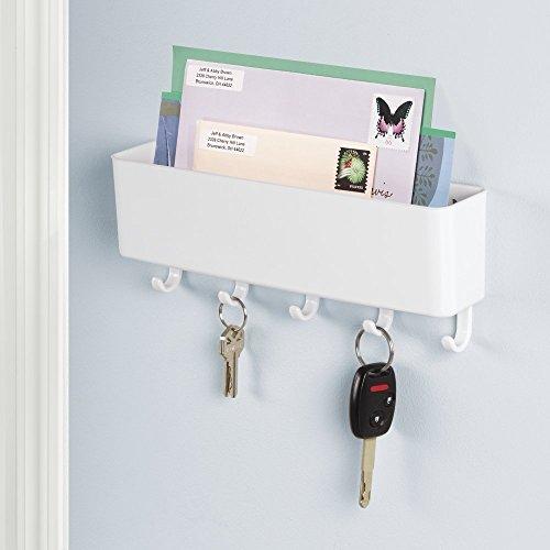 mDesign Post-/Briefablage, Schlüsselbrett-Organizer für Eingangsbereich, Küche - Wandmontiert, Weiß