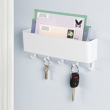 mDesign Mail, Letter Holder, Key Rack Organizer for Entryway, Kitchen - Wall Mount, White
