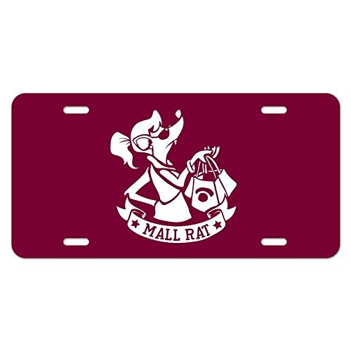 zaeshe3536658 Mall Rat with Shopping Bags Novelty Metal Vanity Tag License Plate Auto Tag 12 x 6 inch.