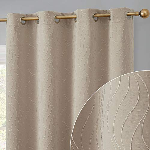 HLC.ME Camden 100% Complete Blackout Thermal Insulated Window Curtain Grommet Panels - Energy Efficient & Noise Reducing - Great for Living Room & Bedroom - Set of 2 (50