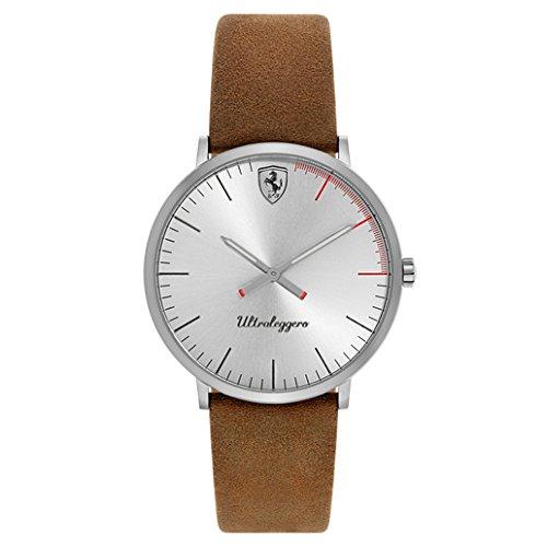 Ferrari-Mens-ULTRALEGGERO-ULTRA-SLIM-Quartz-Resin-and-Leather-Casual-Watch-ColorBrownModel-0830405