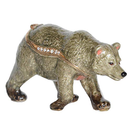 Trinket Bear Box - Jiaheyou Grizzly Bear Trinket Box Jewelry Organizer Necklace Holder Animal Figures Collectible Creative Gifts