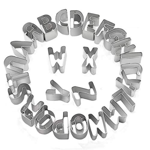 (Cookie Cutters, 3D Cookie Cutters Mini Alphabet Christmas Cookie Cutters Set of 26 Pieces Stainless Steel Small Cookie Mold Tools for Fondant Biscuit, Cake, Fruit, Vegetables)