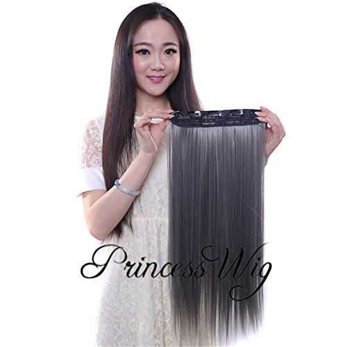 Hair Digital Extension (Princesswig Ombre Silver Grey Dark Gray Clip in Synthetic Hair Extensions One Piece Long Hairpieces Clip on 24 Inches Curly Wavy Full Head with 5 Clips 140G)