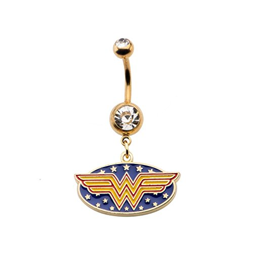 Logo Dangle - Licensed DC Comics Wonder Woman Logo 14g 7/16 Gold Plated Navel Ring with Dangle Charm (with Gift Box)