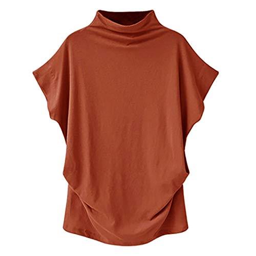 (Tantisy ♣↭♣ Women Shirts Turtleneck Short Sleeve Cotton Blouse T Shirt Casual Loose Tunic Tops Plus Size/S-5XL Orange)