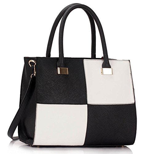 LeahWard? Genuine Faux Leather Tote Shoulder Bag Women's Large Designer Large Check Bags 153 Black/White