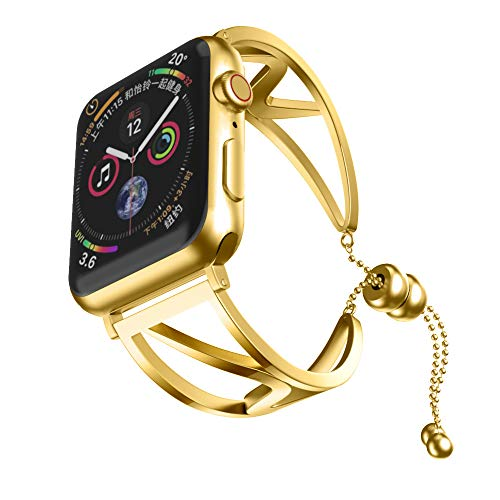 Cywulin Stainless Steel Bands Compatible iWatch 40mm 44mm 38mm 42mm Apple Watch Series 4, Series 3, Series 2, Series 1, Classy Bangle Replacement Loop Wirst Strap Link Bracelet (42mm/44mm, ()