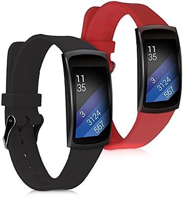 kwmobile 2X Pulsera para Samsung Gear Fit2 / Gear Fit 2 Pro - Brazalete de [Silicona] [Rojo Oscuro Negro] sin Fitness Tracker