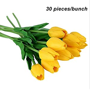 Zalin PU Fake Artificial Silk Tulips Flores Party Artificial Flowers for Home Wedding Decoration,30pcs Yellow 70