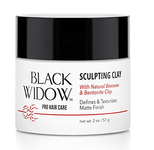 Hair Styling Clay Made of Natural Beeswax and Bentonite Clay for Hair - Men's Hair Clay Matte Finish for All Hair Types, Non-Sticky Clay Pomade - Sculpting Clay by Black Widow, 2 oz