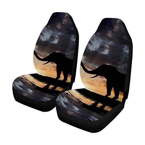 INTERESTPRINT Silhouette Elephant Sunset Car Seat Cover Front Seats Only Full Set of 2, Bucket Seat Protector Car Seat Cushions for Car, SUV, Truck or Van