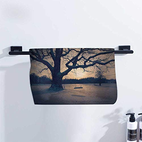 Fakgod Tree of Life Cotton Towel Majestic Tree in The Garden with A Swing Nostalgic Dramatic Winter Scenery Pool Towels, Gym Towels & Hair Towels W14 x L14 Tan Blue Grey