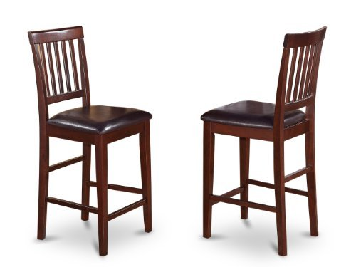 VNS-MAH-LC Counter Stool Set with Faux Leather Seat, Mahogany Finish, Set of 2 ()