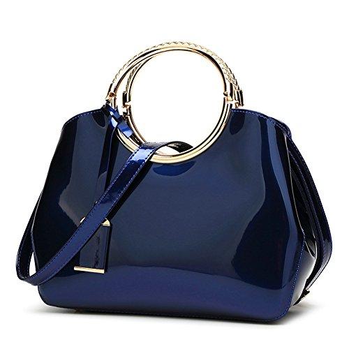 Patent Leather Like Handbag (Beallure Women's Patent Leather Mini Tote Handbag for Bridal Prom (Blue))