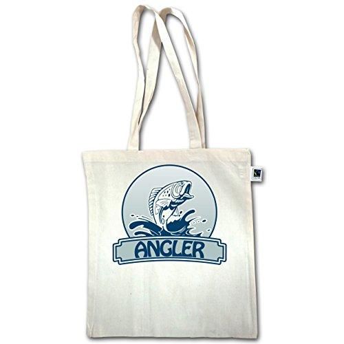 Angeln - Angler Button - Unisize - Natural - XT600 - Jutebeutel lange Henkel