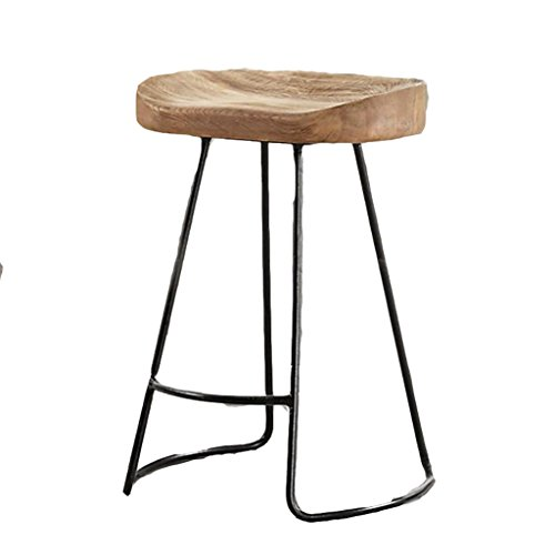 AIDELAI Stool chair Modern Minimalist Solid Wood Wrought Iron Bar Chairs American Retro Bar Chairs High Chairs Bar Stool Front Desk Chairs Coffee Chairs Saddle Seat (Size : 423575cm) (Table Wrought Round 42 Iron)