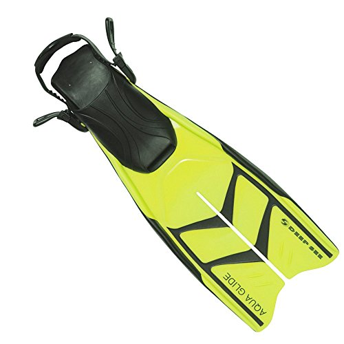 Deep See Aqua Glide Snorkeling Fins, Yellow, Size: Large 9-12 (Deep Fins See)