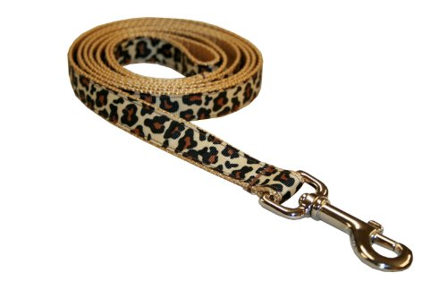 Sassy Dog Wear 6-Feet Natural Leopard Dog Leash, Medium, My Pet Supplies