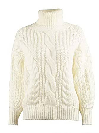 SUNJIN ARCO Women's Casual Long Sleeve Turtleneck Chunky Cable Knit Pullover Sweater - Beige - 8-10