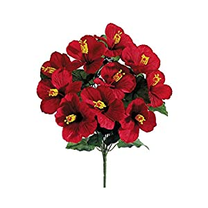 """Hibiscus Artificial Flower Bush in Red - 19"""" Tall 103"""