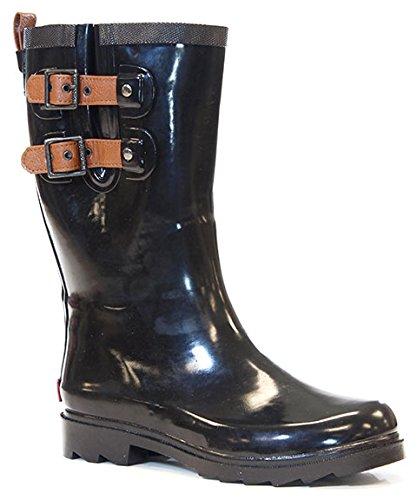 Chooka Women's Waterproof Dual Strap Rain Boot (10, Black)