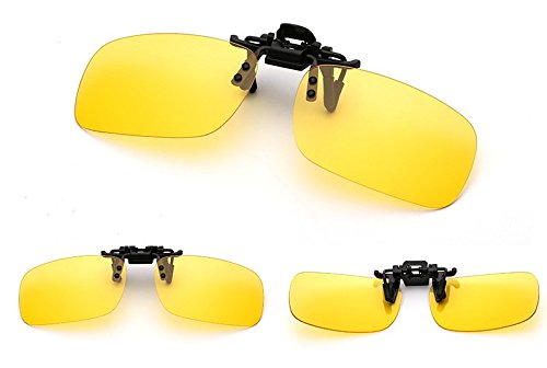 EDTara Polarized Glasses with Sun Glasses Case - UV 400 Clip-on Flip-up Lens Day Night Vision Driving Sunglasses Yellow - Kd Prescription Sunglasses