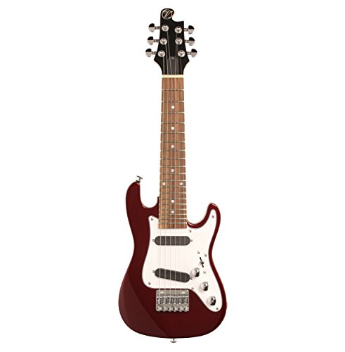 Vorson EGL-ST S-Style Guitarlele Travel Electric Guitar with Gigbag, Metallic Red
