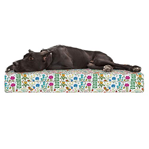 Lunarable Floral Dog Bed, Doodle Art Style Spring Garden Ornament with Flowers Beetle Ladybugs Birds Worms, Durable Washable Mat with Decorative Fabric Cover, 48