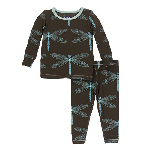 Kickee Pants Little Boys and Girls Print Long Sleeve Pajama Set- Giant Dragonfly, 6-12 Months ()