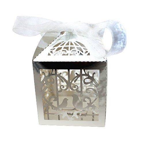 Favor Deluxe - Gospire 50pcs Deluxe Party Wedding Favor Super Gift Laser Cut Pearl Paper Ribbon Candy Boxes Gift Box Bombonera Classical Bird Style (Bright Silver)