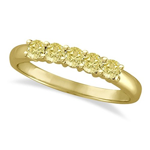 - Five Stone Fancy Yellow Canary Diamond Anniversary Ring 14k Gold (0.50ct)