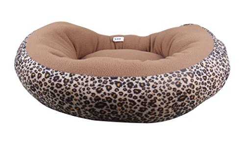 Costume For Flying Dogs Pattern Monkey (Hii-Yo Leopard Print Round Pet Bed Soft Plush Pet Cushion Fleece Warm Bed House Cozy Nest Mat (Leopard,)