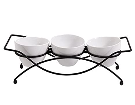 Gibson 4 Piece Gracious Dining Serving Set Ware With Metal Rack, White