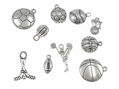 - Kinteshun Alloy Ball Games Sports Charm Pendant for DIY Jewelry Making Accessaries(10pcs,Antique Silver Tone)