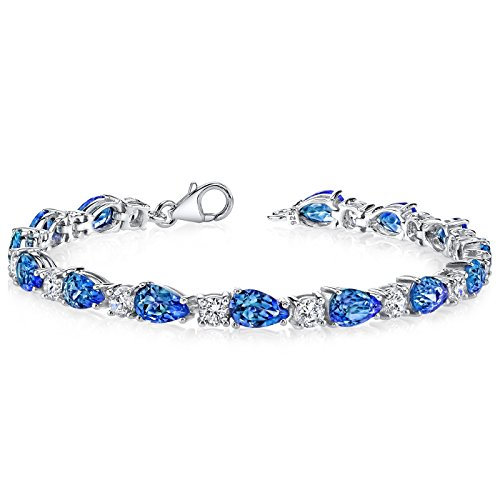 - 13.00 Carats Simulated Alexandrite Bracelet Sterling Silver Pear Shape